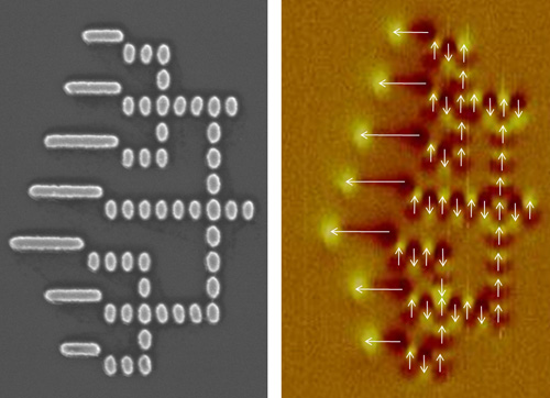 One nanoelectronics approach studied by the NRI MIND center is nanomagnet logic (NML)--logic circuits that work by magnetic coupling between neighboring nanoscale magnets. Here, SEM (l) and magnetic force microscope (r) images show an NML circuit that adds binary numbers. Credit: Courtesy SRC-NRI Midwest Institute for Nanoelectronics Discovery (MIND)