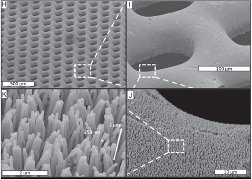 H–K) SEM images of the finished Pt-BMG nanowire electrode with gas feeding through-holes