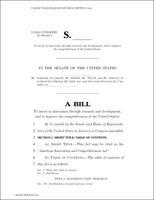 American Innovation and Competitiveness Act