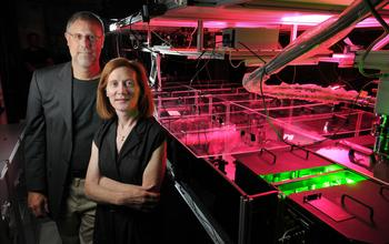 Margaret Murnane, a physicist at the University of Colorado at Boulder, is the principal investigator for the New Science and Technology Center on Real-Time Functional Imaging. Murnane is seen here with Henry Kapteyn of the Joint Institute for Laboratory Astrophysics (JILA).